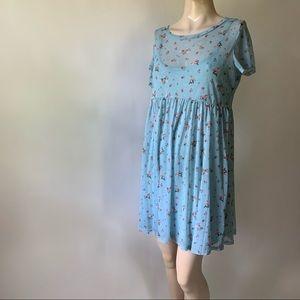 Sheer Floral Babydoll Dress
